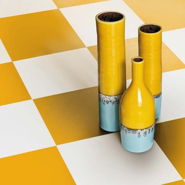 Yellow and White vinyl flooring checkerboard