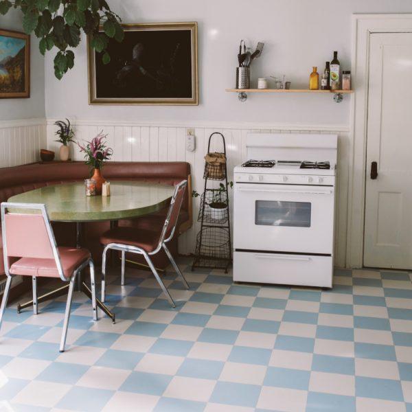 blue and white vinyl checkered flooring