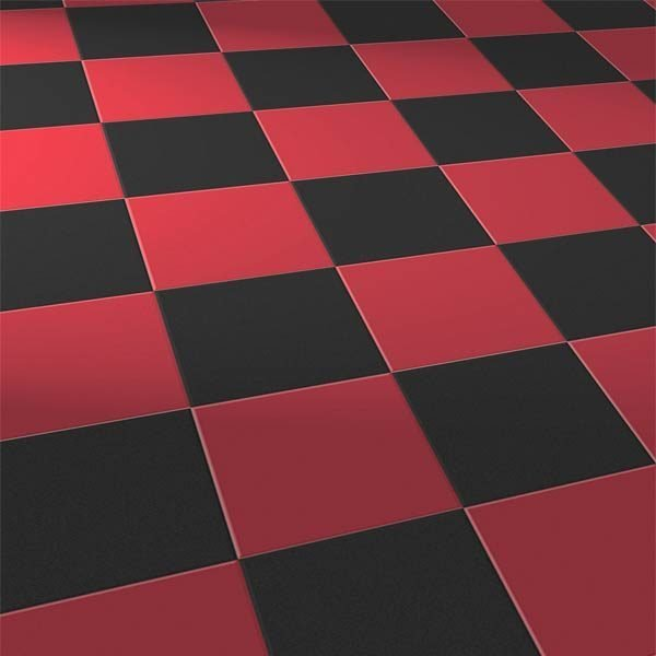 red and black square floor tiles