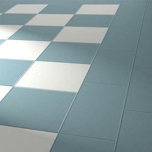 blue and white flooring tiles
