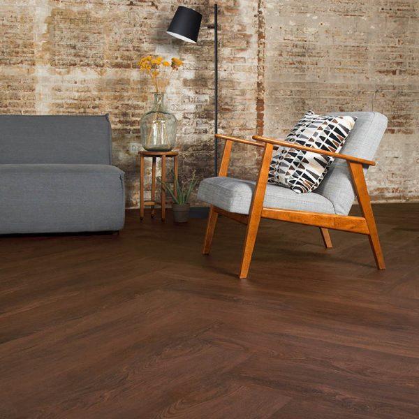 burgundy oak living room with modern furnishings