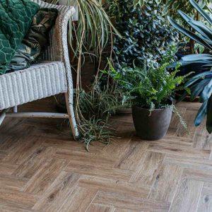 limed oak parquet floor in modern garden room