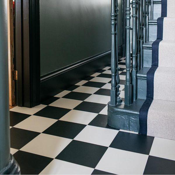 chequerboard monochrome hallway flooring
