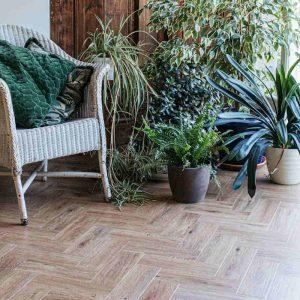 parquet limed oak wood effect lvt flooring in garden room