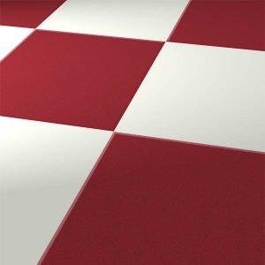 red and white square floor tiles