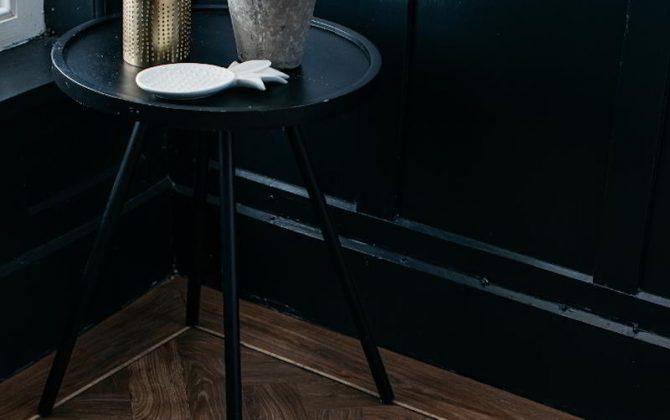 wood effect vinyl floor in paneled room