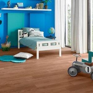 wood effect lvt flooring in blue childrens room