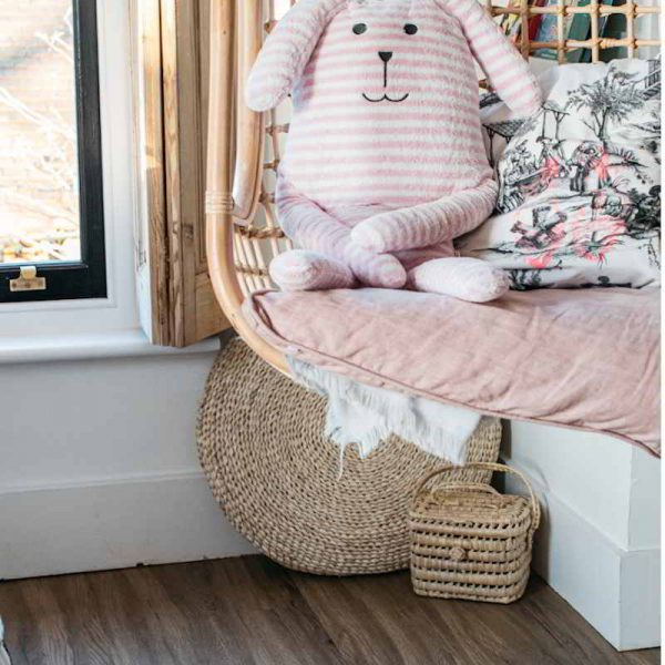 hanging chair kids decor with wooden floor