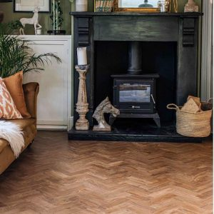 autumnal fireplace with parquet flooring