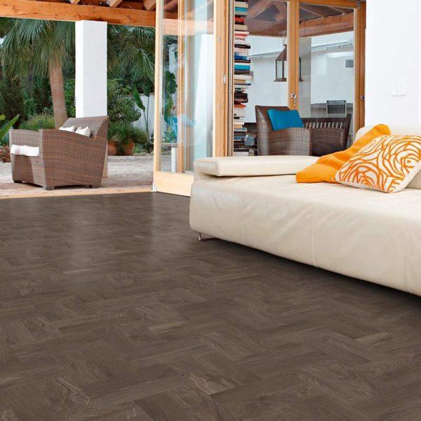 dark smoked oak wood flooring in contemporary house