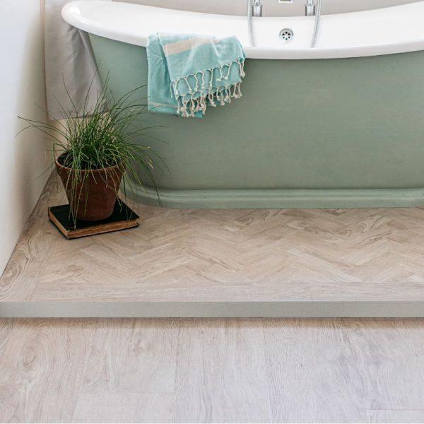 paruqet white oak bathroom