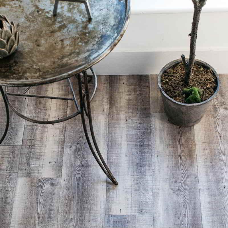 Weathered wood effect hallway flooring LVT