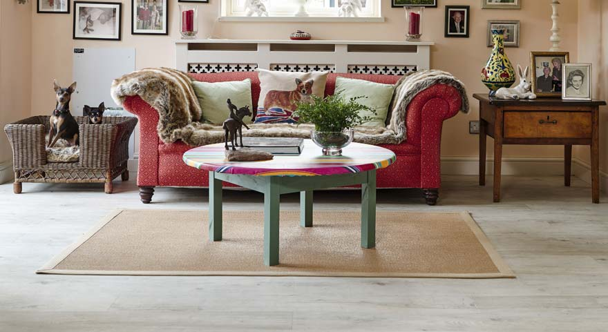 vinyl wood flooring in traditional lounge with dogs