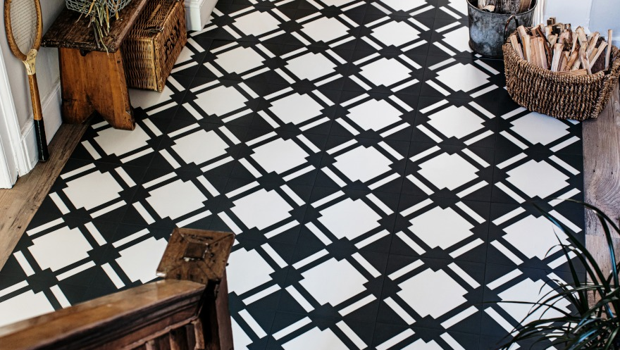 traditional hallway with black and white check tiles