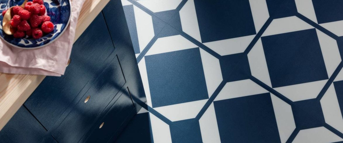 kitchen floor with blue patterned tiles