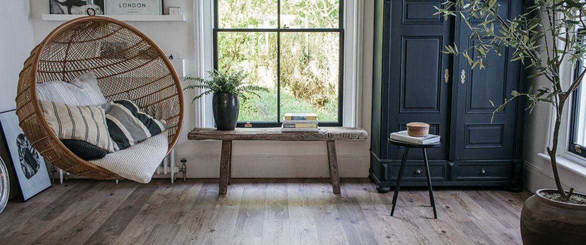wood effect flooring in living room