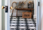 black and white chequered floor in hallway