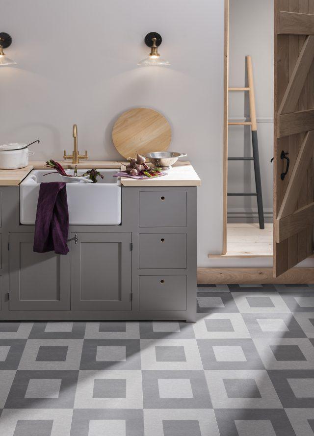 patterned stone effect vinyl floor in kitchen