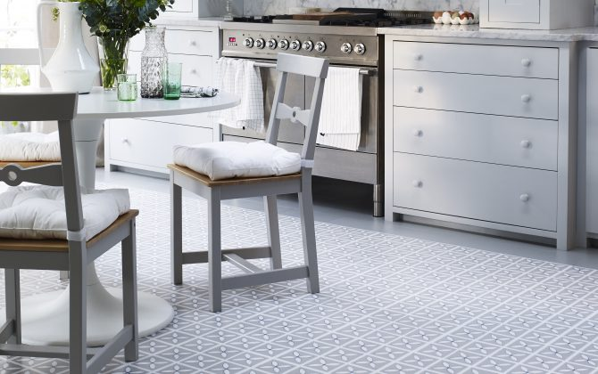 neutral floral floor tiles in country kitchen