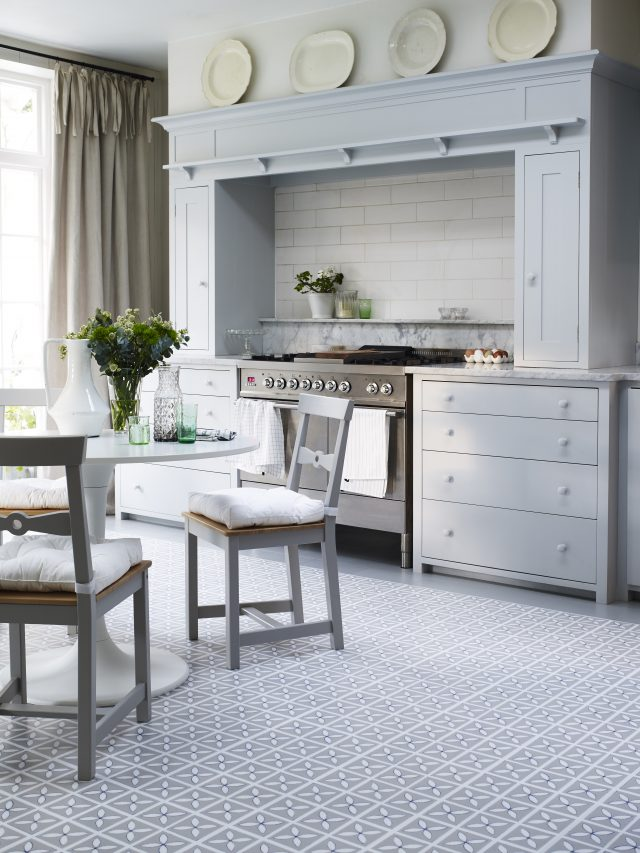 grey kitchen with pebble grey floor