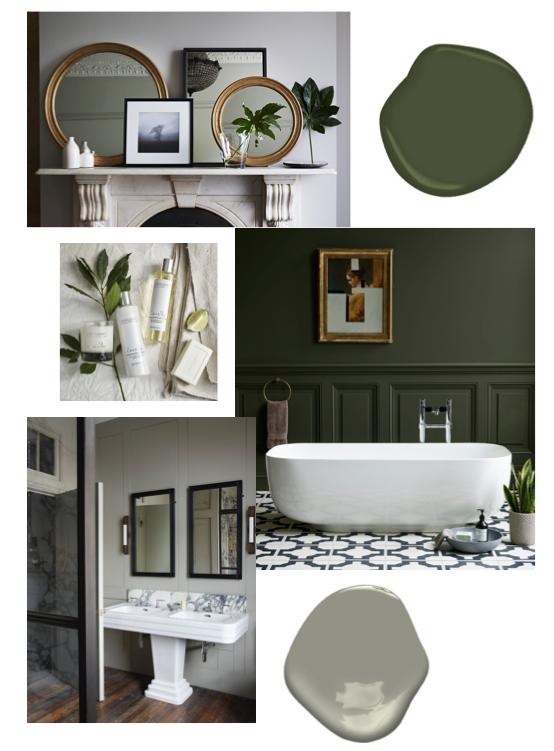 green bathroom inspiration board