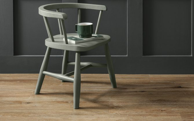 wood plank flooring with green wooden chaire