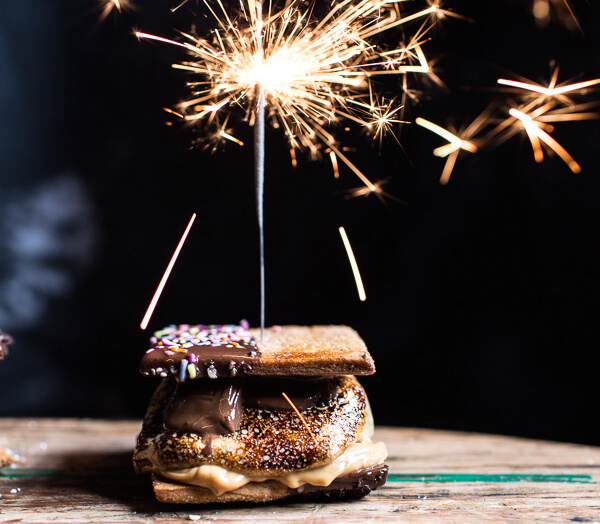 smores with sparkler