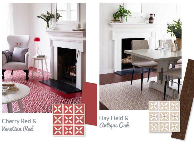 red lattice living room flooring