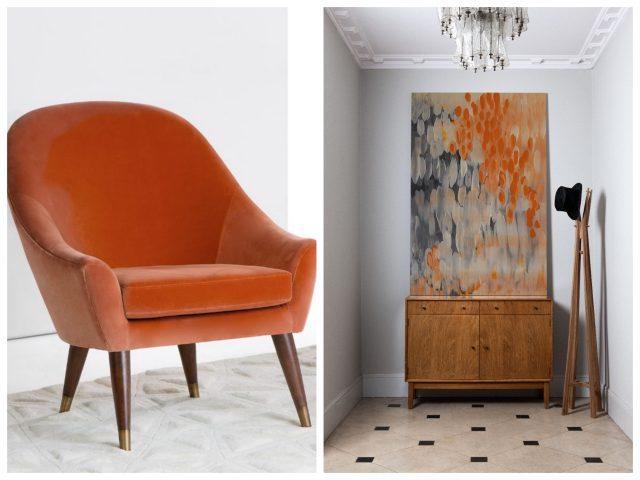orange chair with modern room