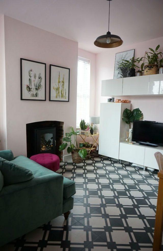 Check vinyl floor in contemporary living room