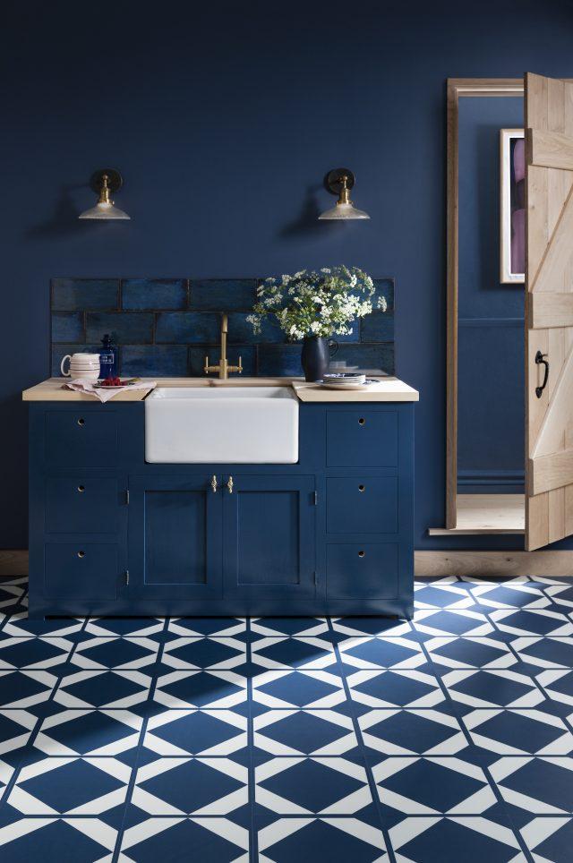oxford blue vinyl kitchen floor