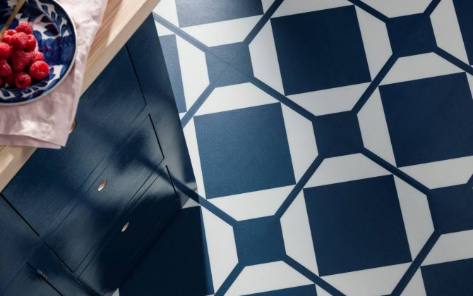 deep blue floor tiles in modern kitchen