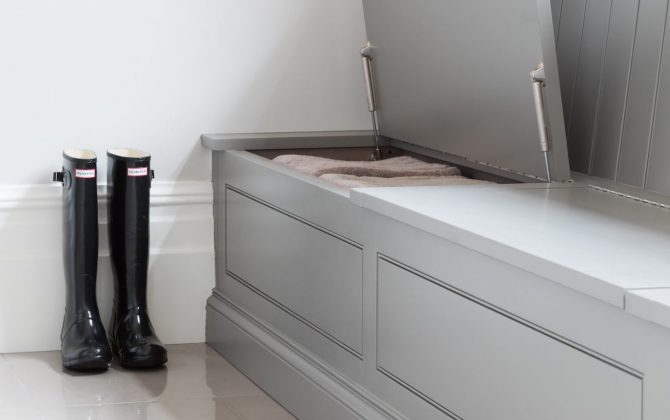 light grey bench storage unit