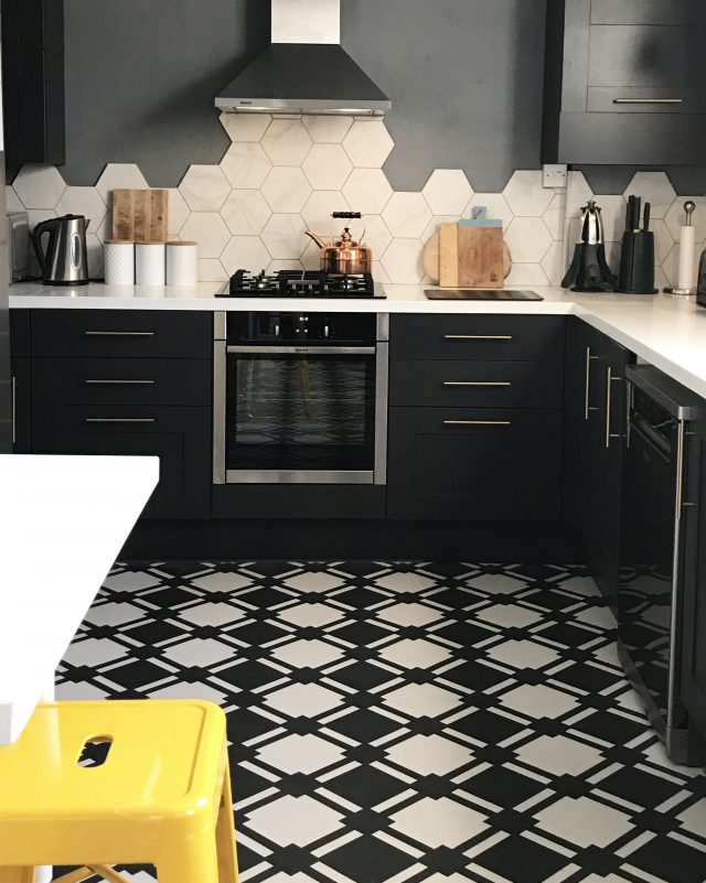 Check Slate Vinyl floor in monochrome kitchen