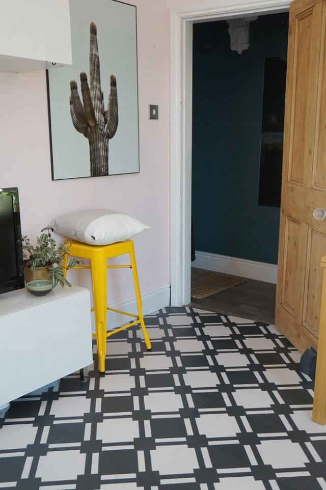 check vinyl floor in modern hallway