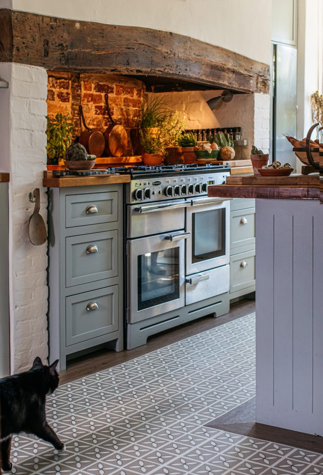 lattice kitchen floor with wood border