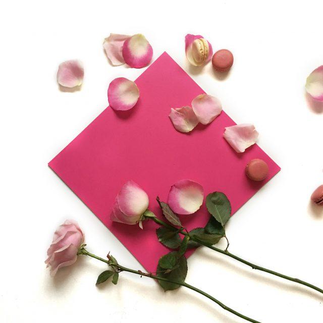 pink vinyl tile with rose petals