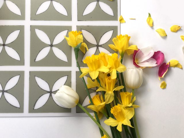 lattice vinyl tile with spring flowers