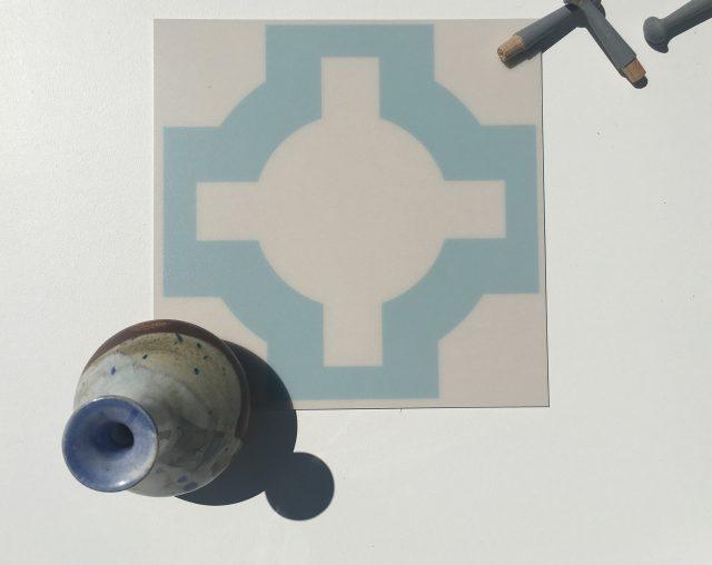 blue parquet vinyl floor tile