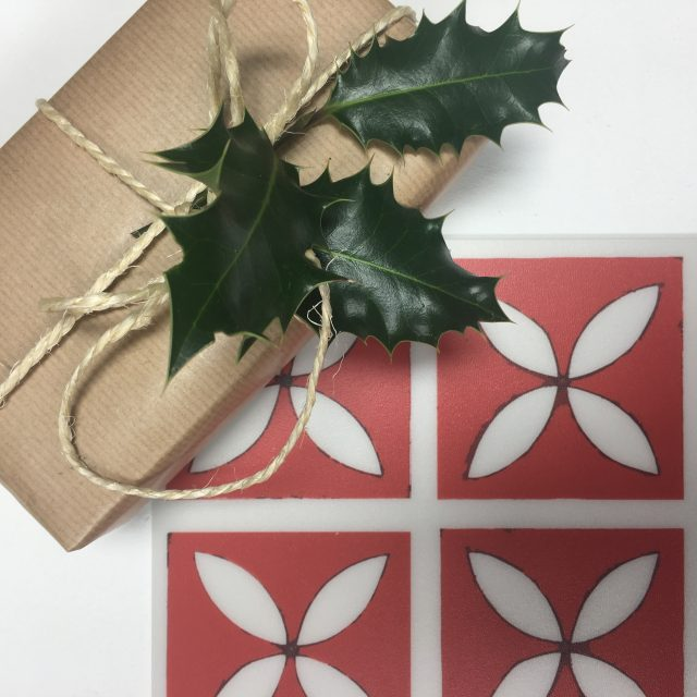 red lattice tile with christmas present