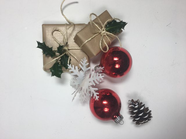 christmas presents and decoration on white background