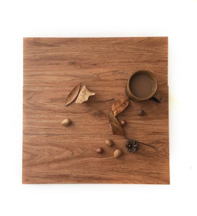 autumn flatlay on wooden sample