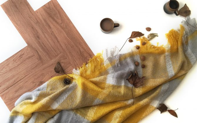 wooden floor tiles with check scarf