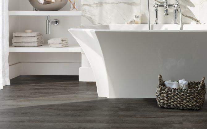 wooden plank lvt in white bahtroom