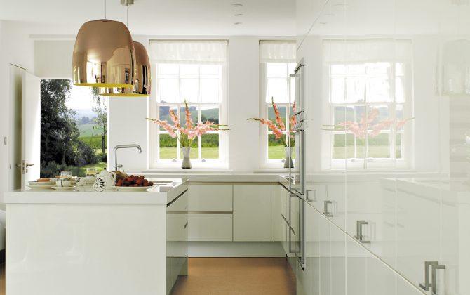 plain white kitchen with orange floor
