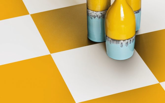 yellow and white chequerboard floor tiles