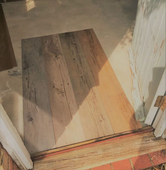 Hallway renovation vinyl wood planks