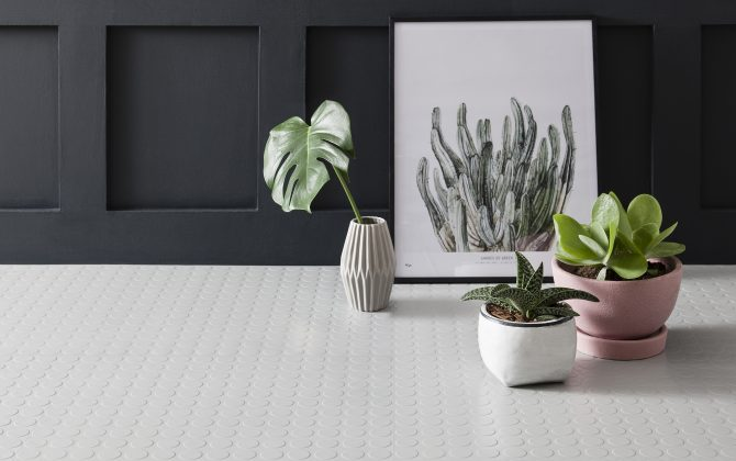 light grey rubber dimples flooring with plants