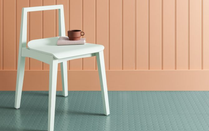 mint green rubber floor tiles with peach wall