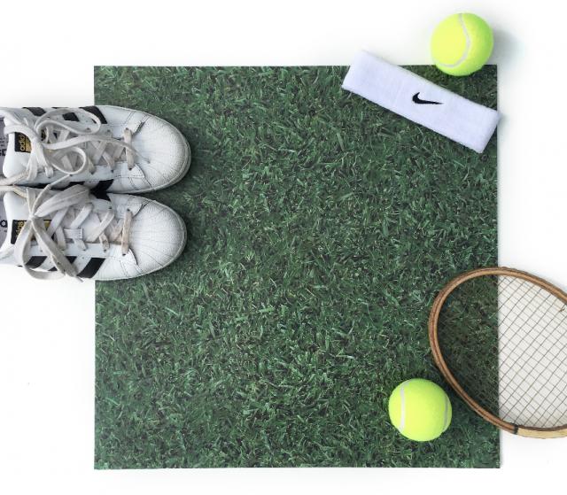 green sparkle vinyl tile with tennis gear